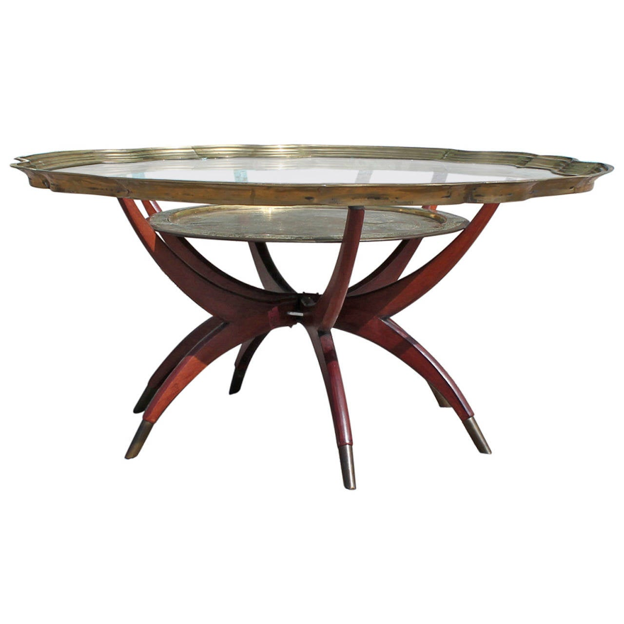 Hollywood Regency Brass Baker Spider Base Coffee Table With Glass Top For Sale At 1stdibs