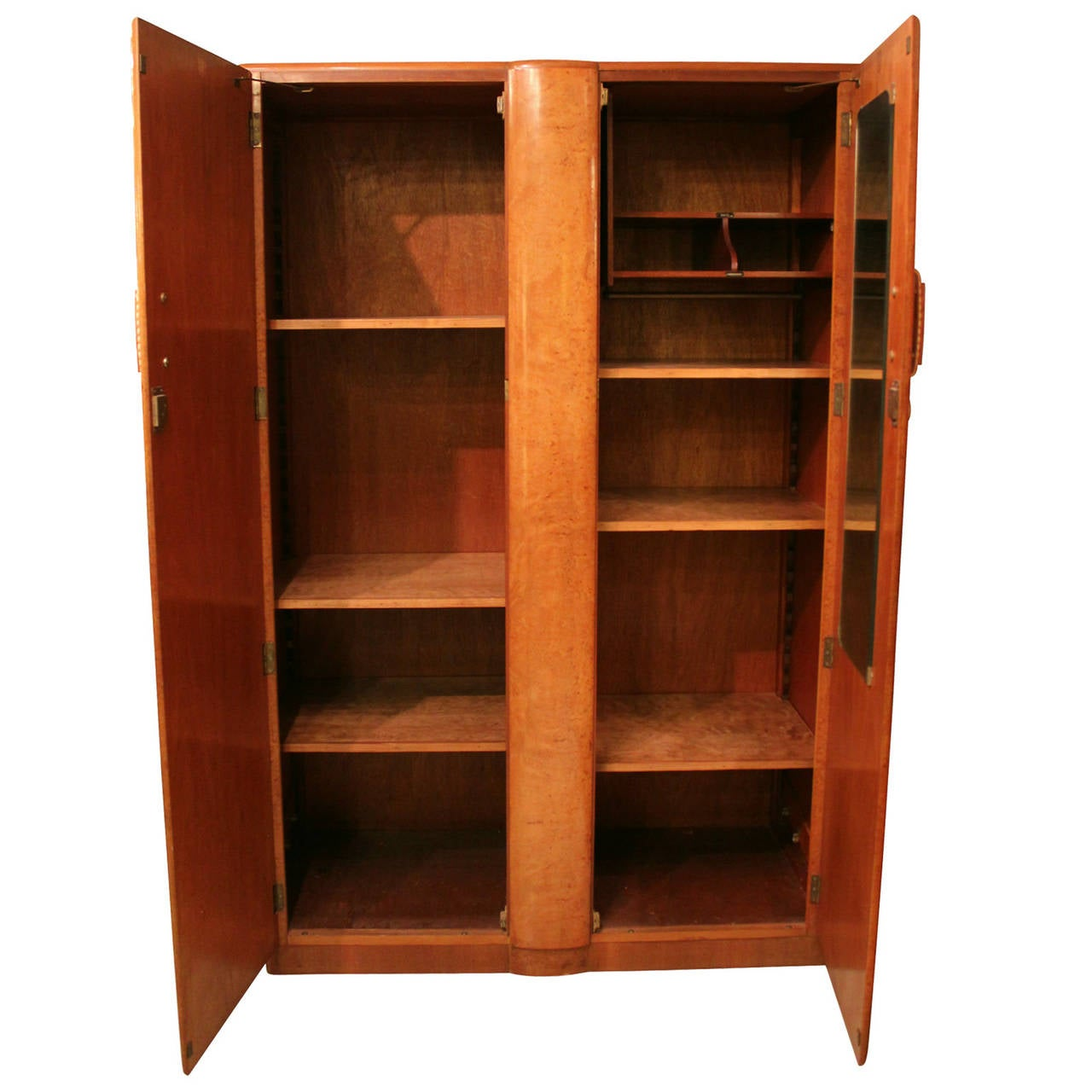 beautiful art deco burl armoire with bakelite handles at. Black Bedroom Furniture Sets. Home Design Ideas