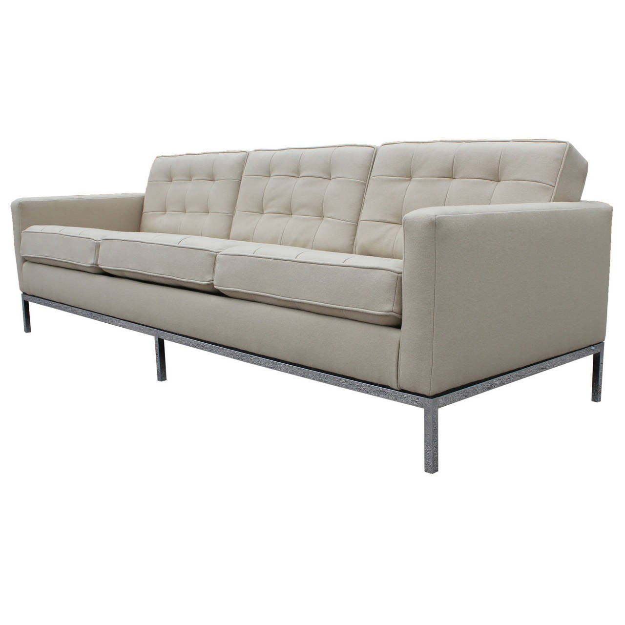 florence knoll sofa upholstered in neutral divina wool at 1stdibs. Black Bedroom Furniture Sets. Home Design Ideas