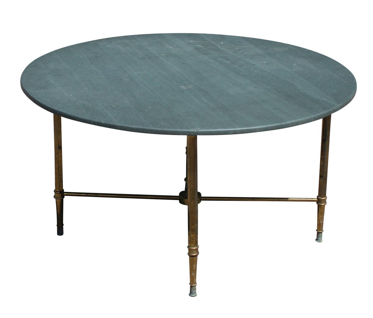 Hollywood Regency Slate And Brass French Cocktail Table At 1stdibs