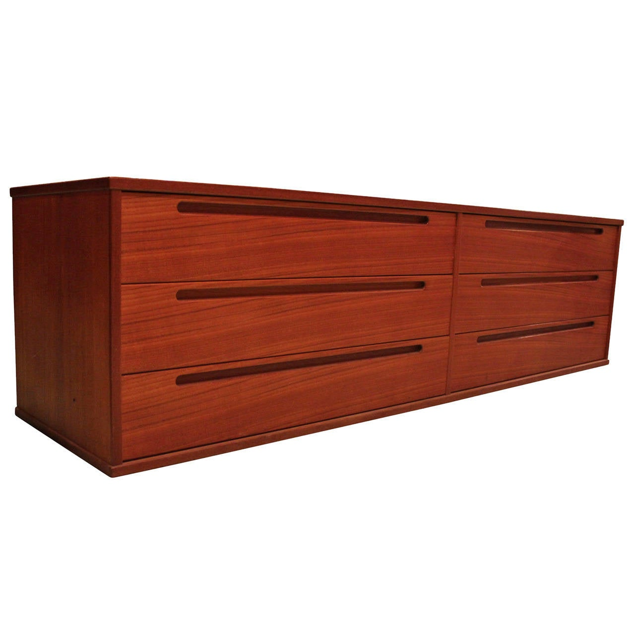 Mid Century Modern Long And Low Danish Teak Dresser With Six Drawers 1960s 1