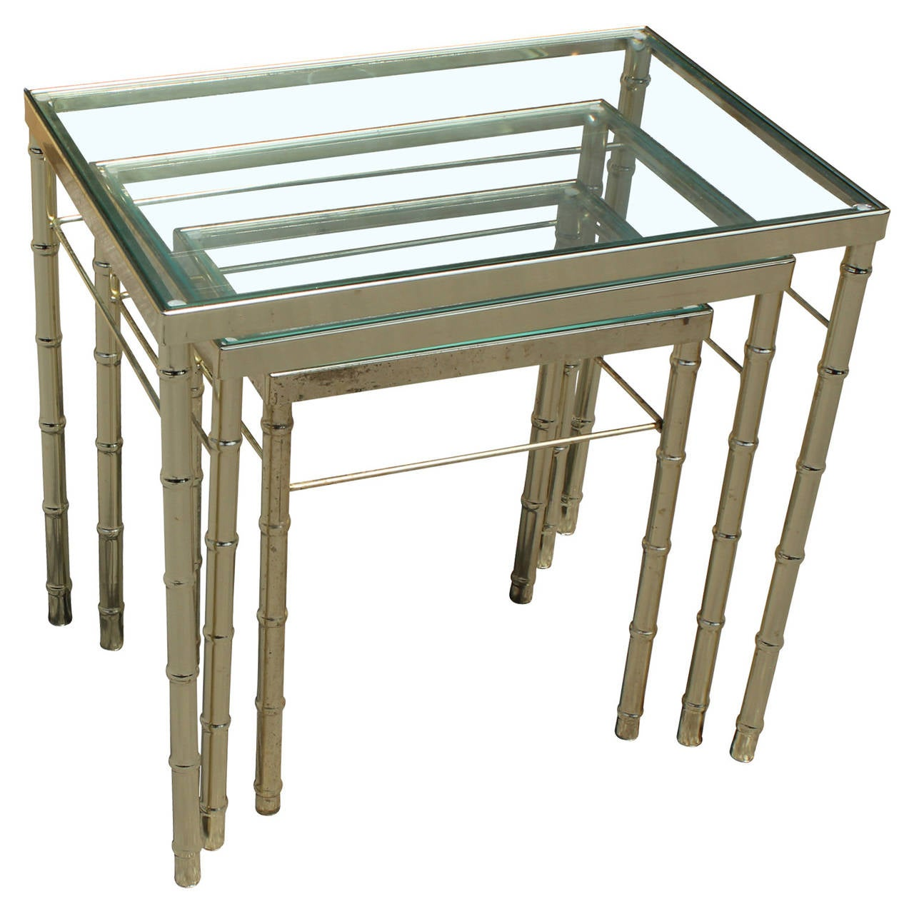 Set Of Three Brass And Glass Faux Bamboo Nesting Tables 2