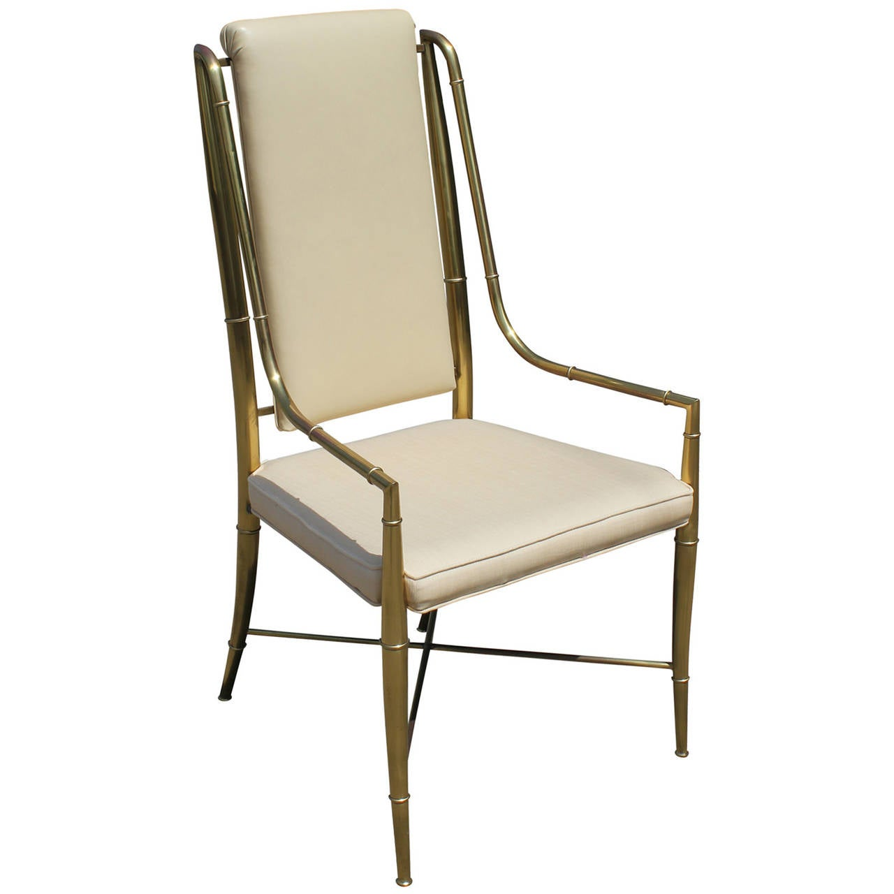set of eight mastercraft brass faux bamboo dining chairs