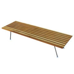 Unusual George Nelson Style Small Coffee Table with Striped Wood