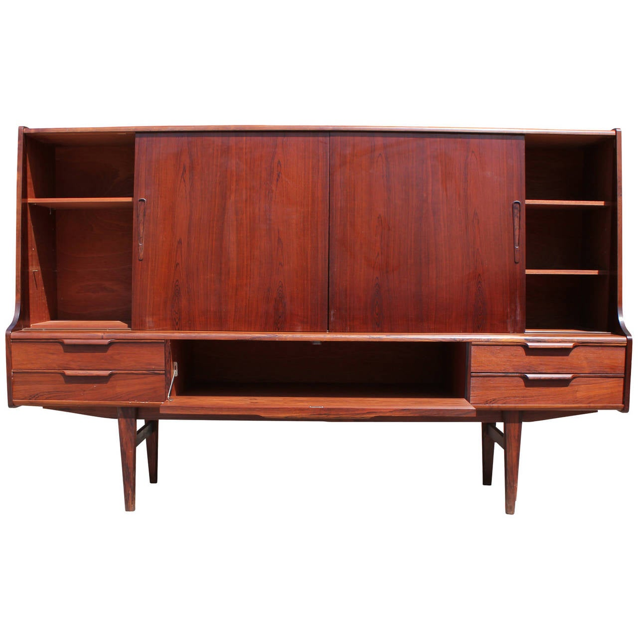 Incredible Mid Century Modern Tall Rosewood Danish Sideboard or Dry Bar 3 - Incredible Mid Century Modern Tall Rosewood Danish Sideboard Or