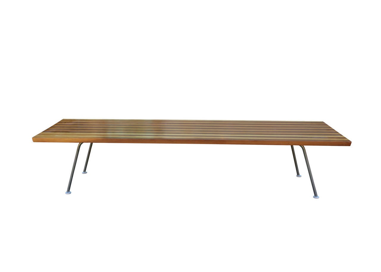 Unusual George Nelson Style Small Coffee Table With Striped Wood At 1stdibs