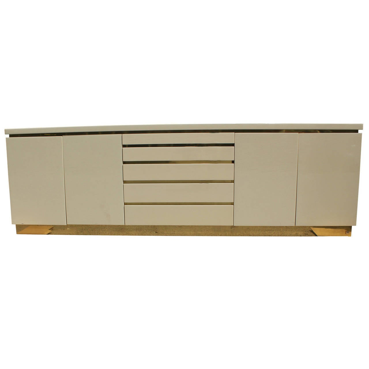 Cream Lacquer and Brass Sideboard by Jean Claude Mahey at 1stdibs