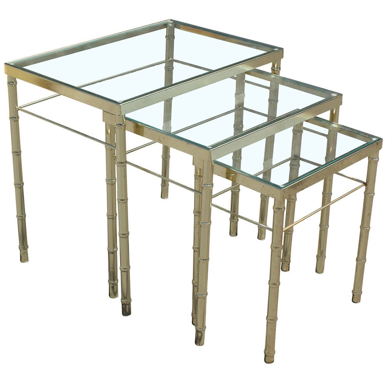 Set Of Three Brass And Glass Faux Bamboo Nesting Tables 1
