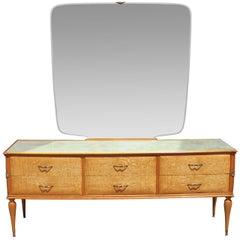 Mid-Century Modern Italian Blonde Burl Wood Vanity Dresser with Mirror