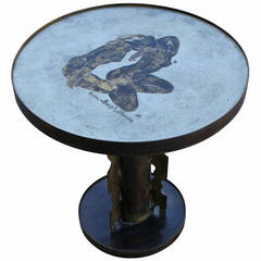 Philip and Kelvin LaVerne Side Table with Nude Women Motif