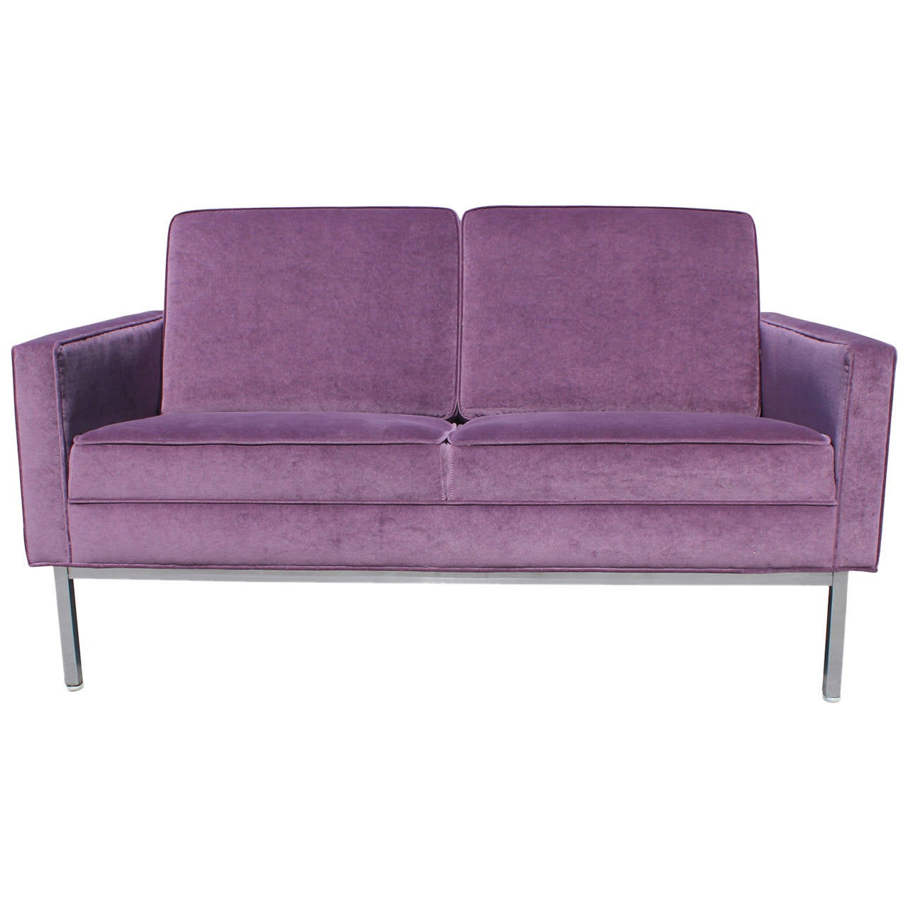 Luxe Purple Velvet And Chrome Knoll Style Loveseat At 1stdibs