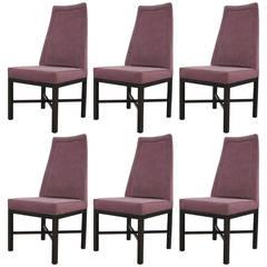 Set of Six Edward Wormley Dunbar Tall Back Dining Chairs