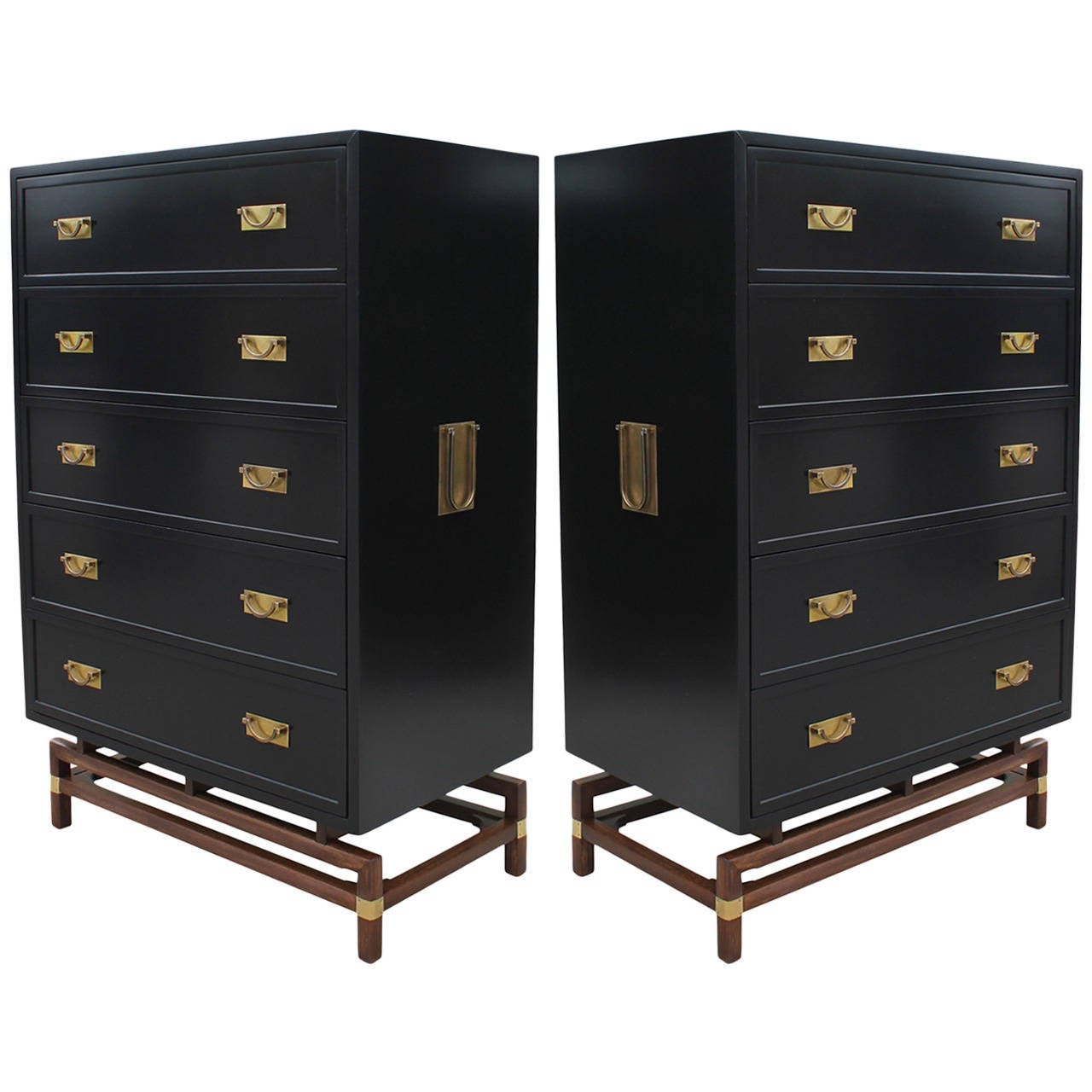 Impeccable Pair Of Twin Black Lacquer And Brass Campaign