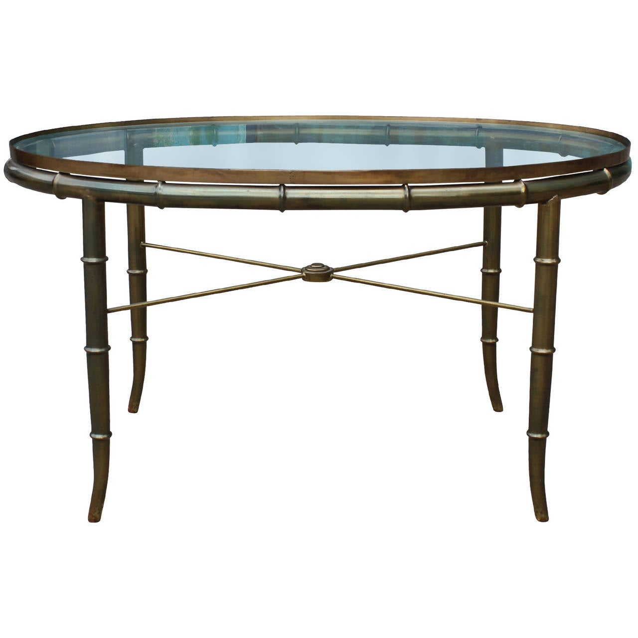 Brass faux bamboo side table in the style of maison for Bamboo side table