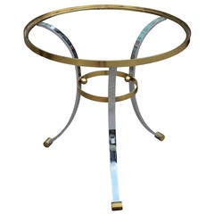 Stunning Hollywood Regency Brass and Chrome Gueridon or Occasional Table