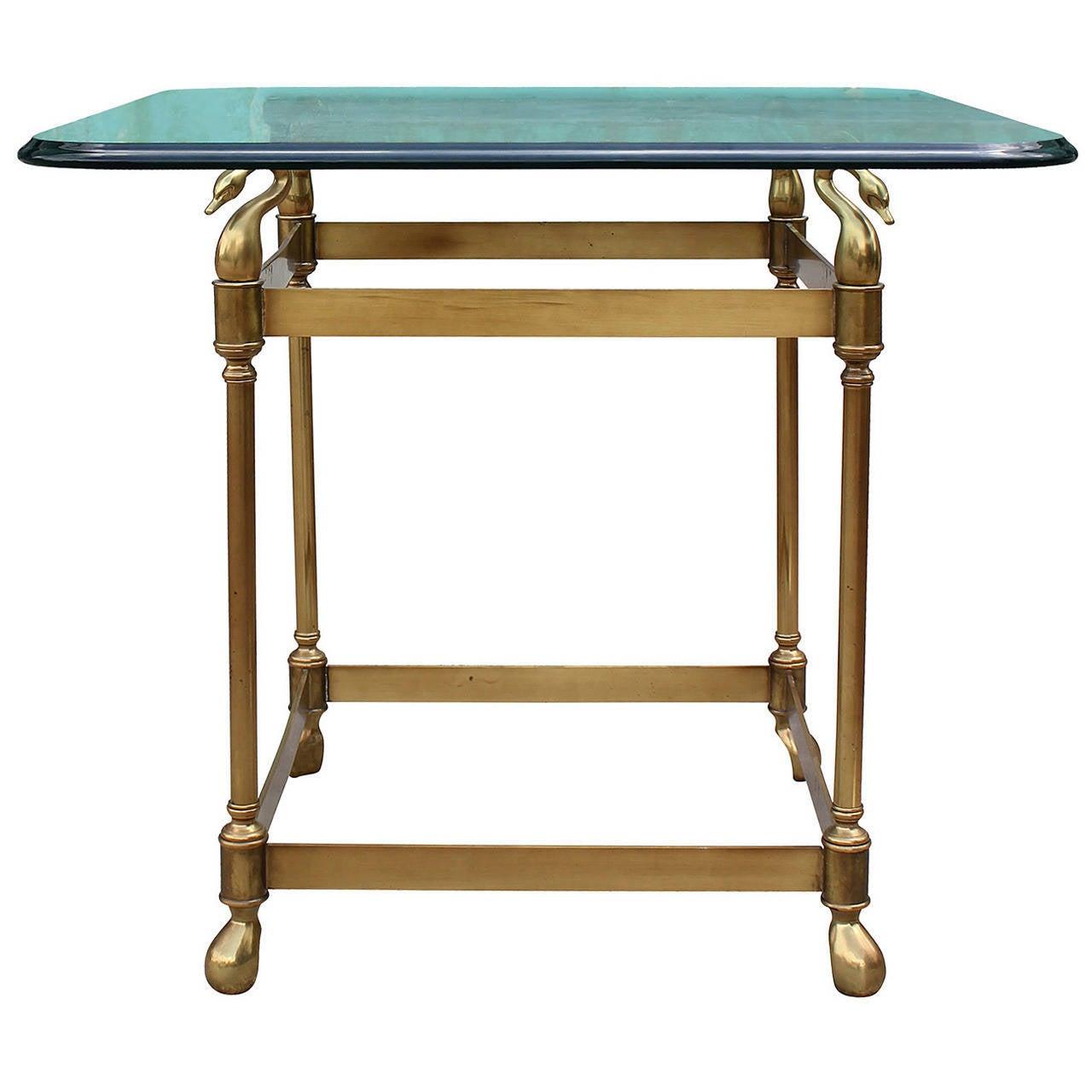 Fabulous Hollywood Regency Swan Motif Brass Gueridon or Occasional Table