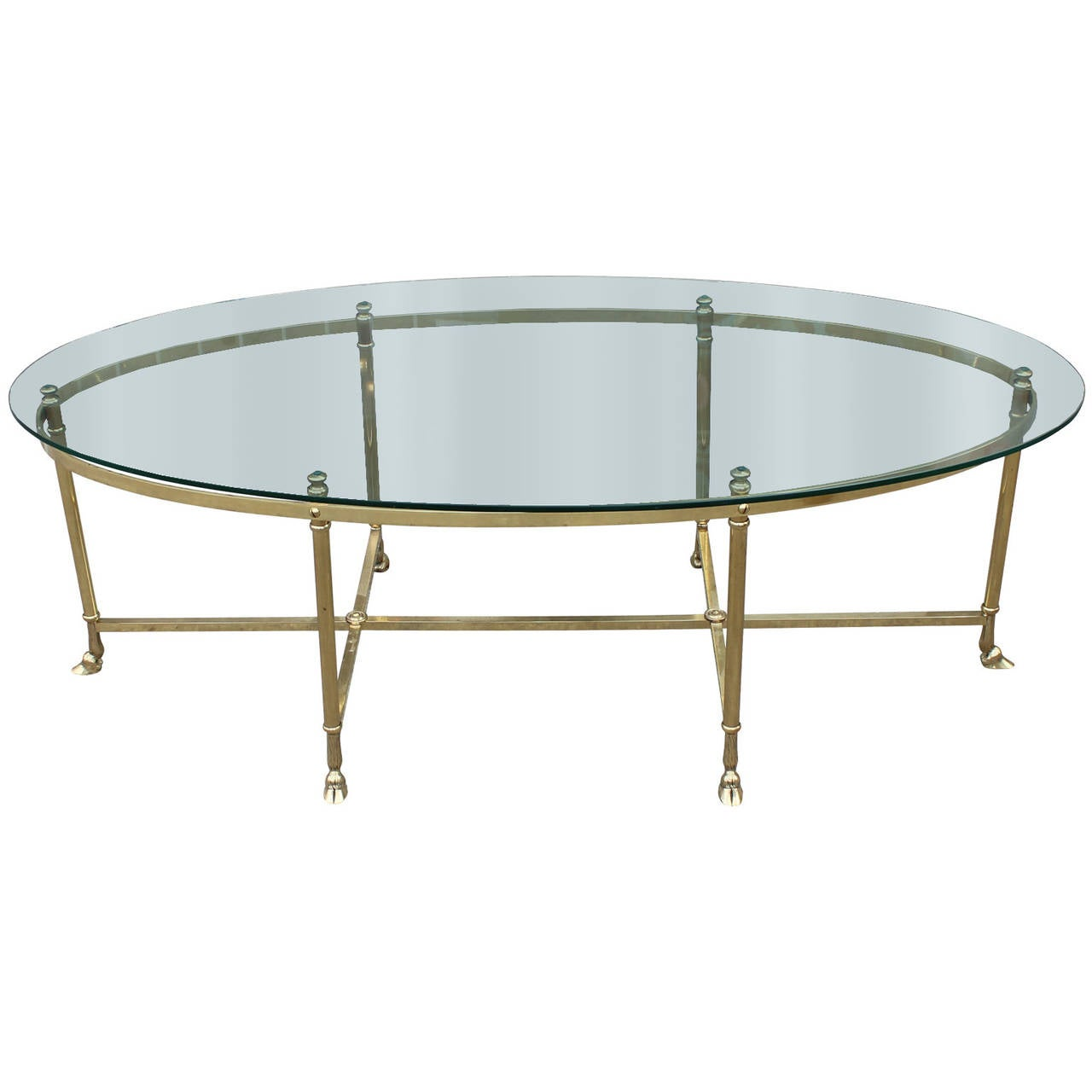 French Oval Coffee Table: French Hooved Brass Hollywood Regency Oval Cocktail Table