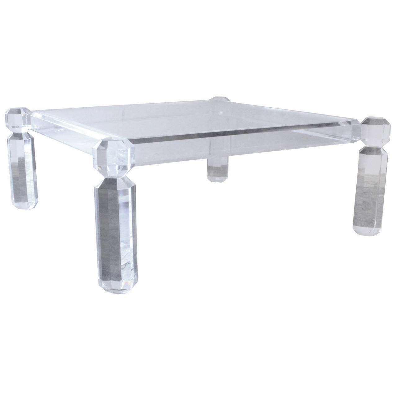 Luxe Chunky Square Lucite Cocktail Table At 1stdibs