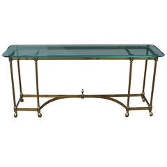 Hollywood Regency French Brass Console Table with Glass Top