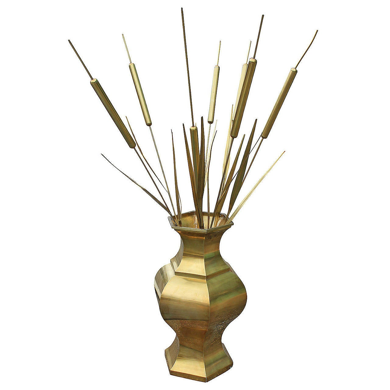 Large decorative brass vase with brass cattails at 1stdibs large decorative brass vase with brass cattails for sale reviewsmspy