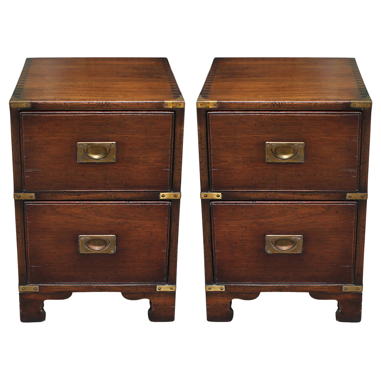 Early Pair Of Lovely Campaign Chest Style Nightstands At