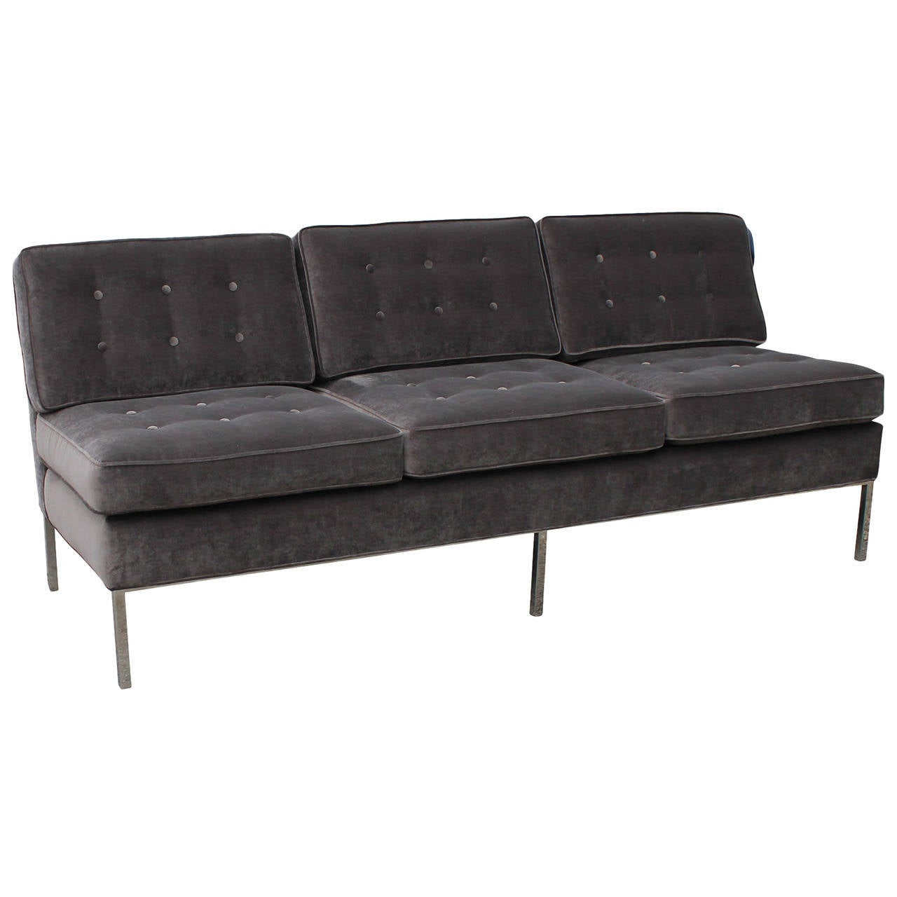 Plush Armless Grey Velvet And Chrome Sofa At 1stdibs