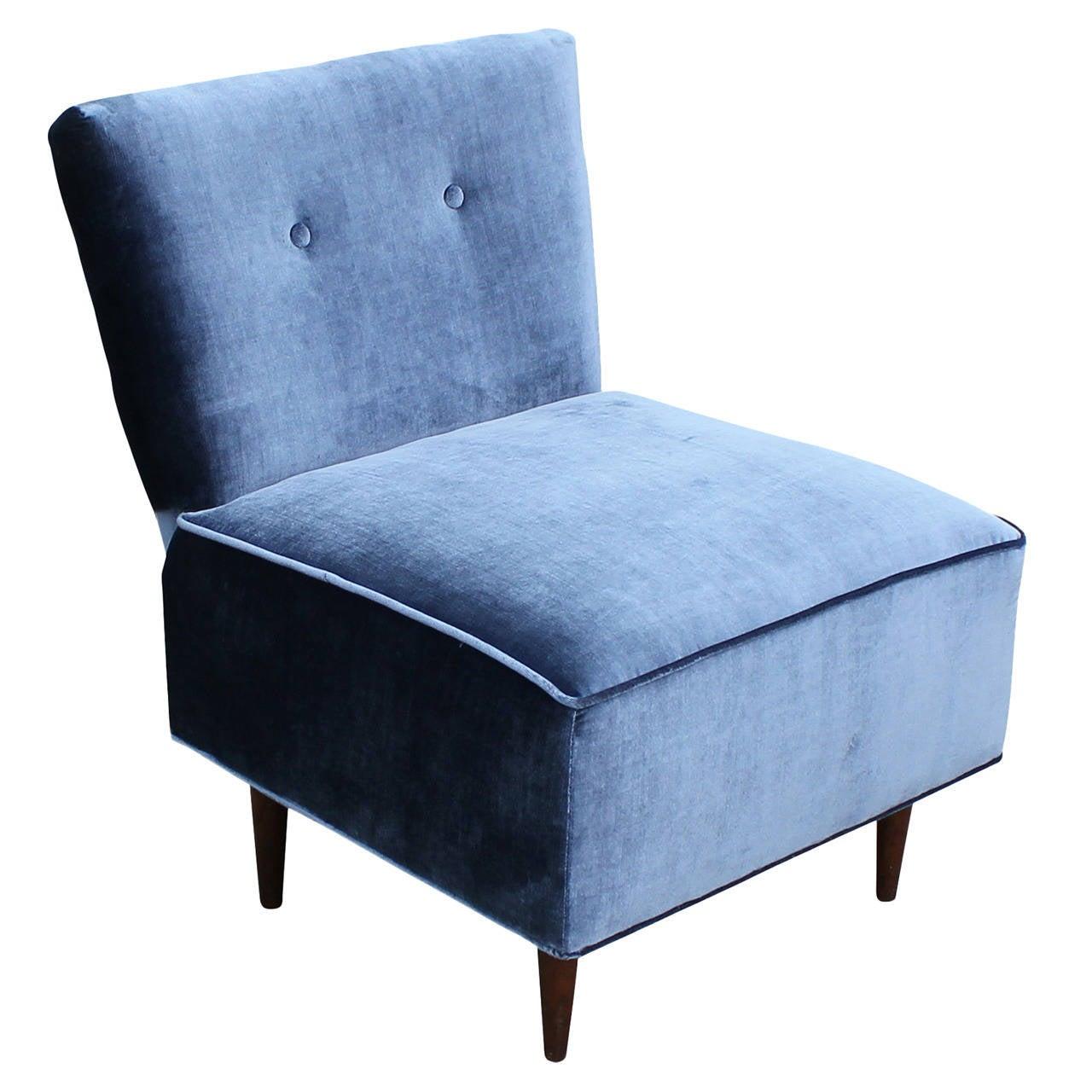 Blue tufted slipper chair - Fantastic Blue Velvet Slipper Chair 1