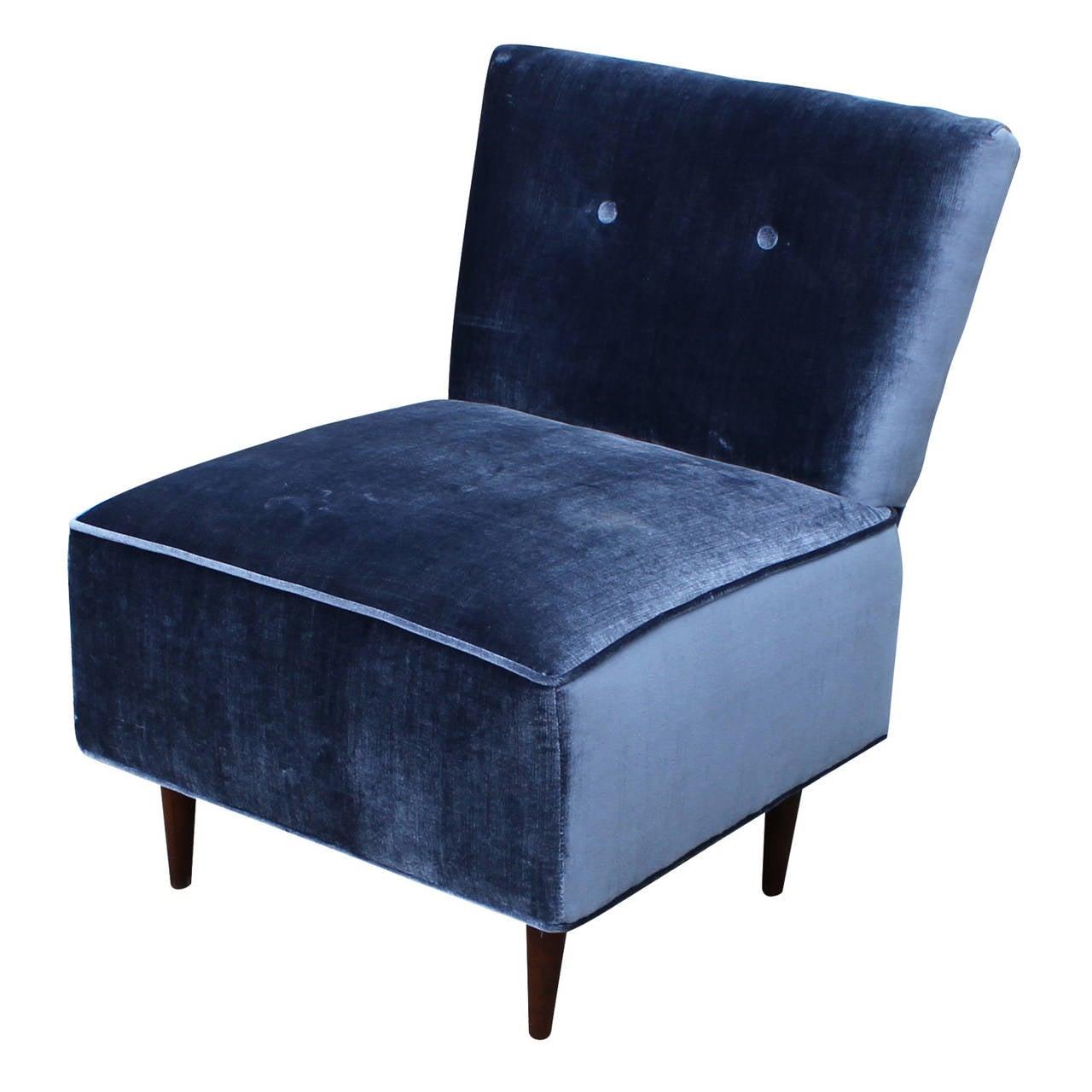 Blue tufted slipper chair - Fantastic Blue Velvet Slipper Chair 3