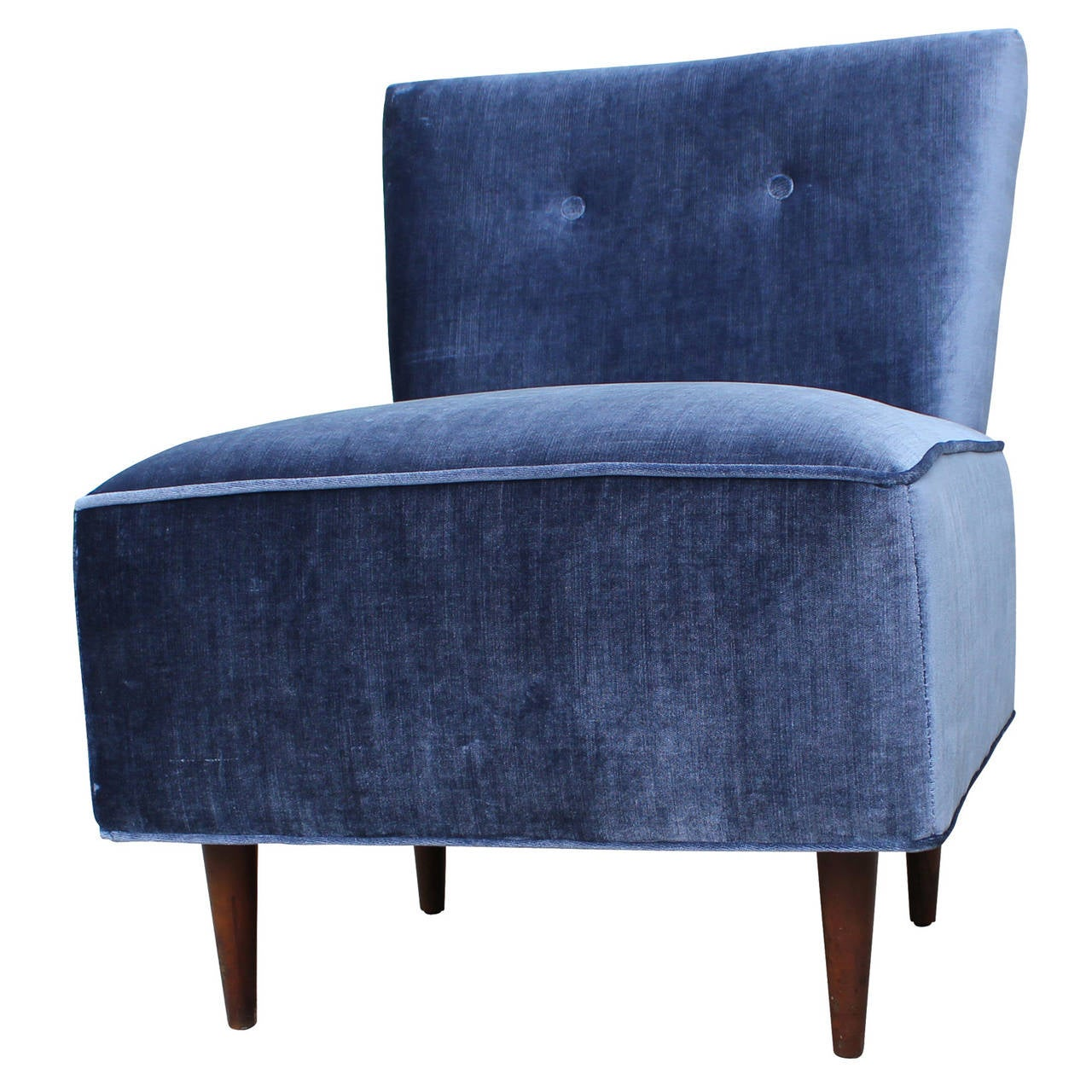Ordinaire Fantastic Blue Velvet Slipper Chair In Excellent Condition For Sale In  Houston, TX