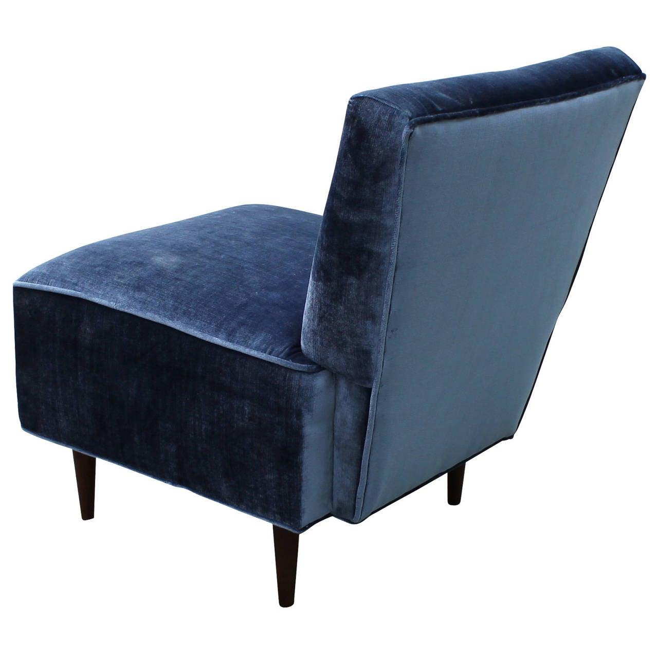 Blue tufted slipper chair - Fantastic Blue Velvet Slipper Chair 2