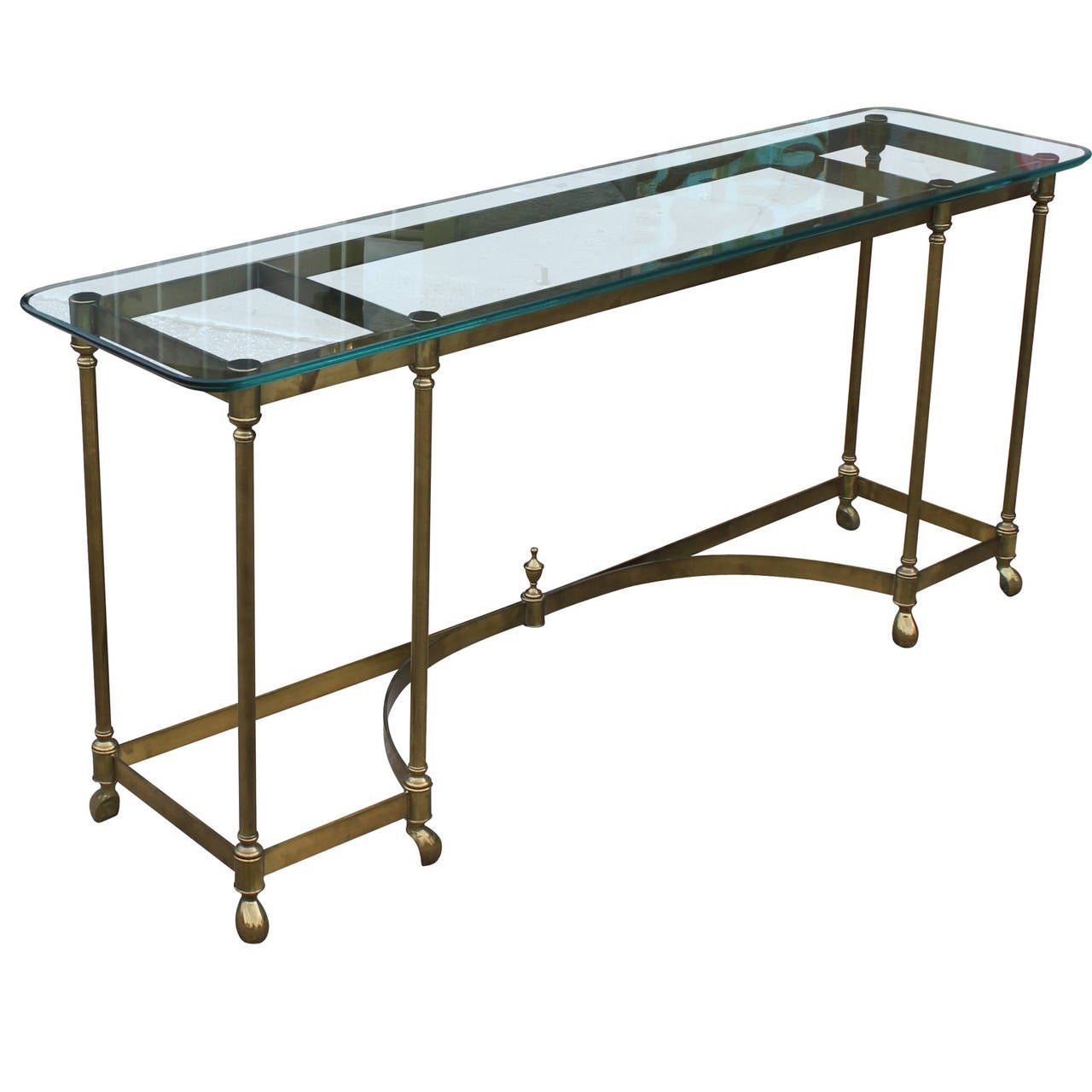1stdibs Brass Smoked Glass French Console Table: Hollywood Regency French Brass Console Table With Glass