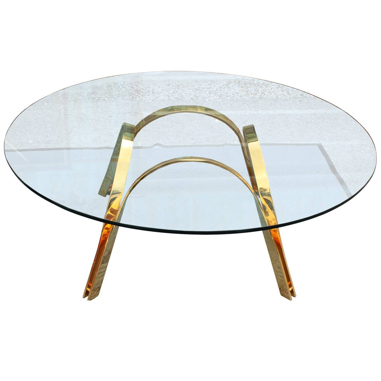 Sculptural Round Gold Ribbon Coffee Table At 1stdibs