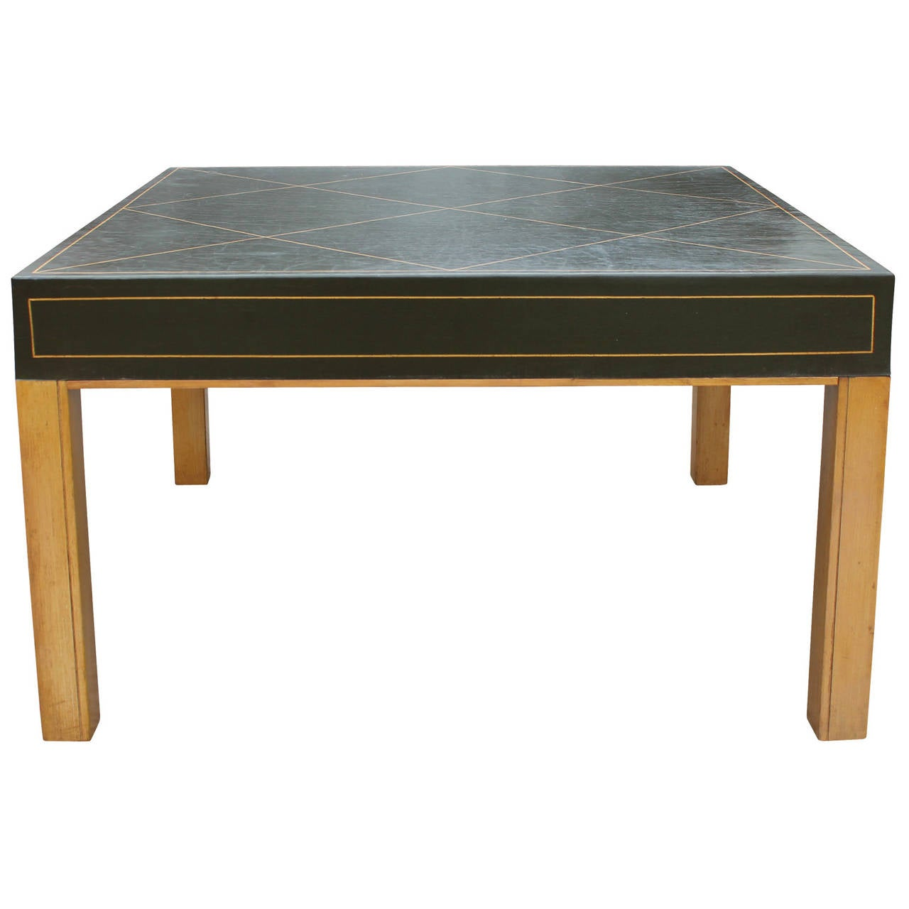 Green Leather Tommi Parzinger Style Coffee Table For Sale At 1stdibs