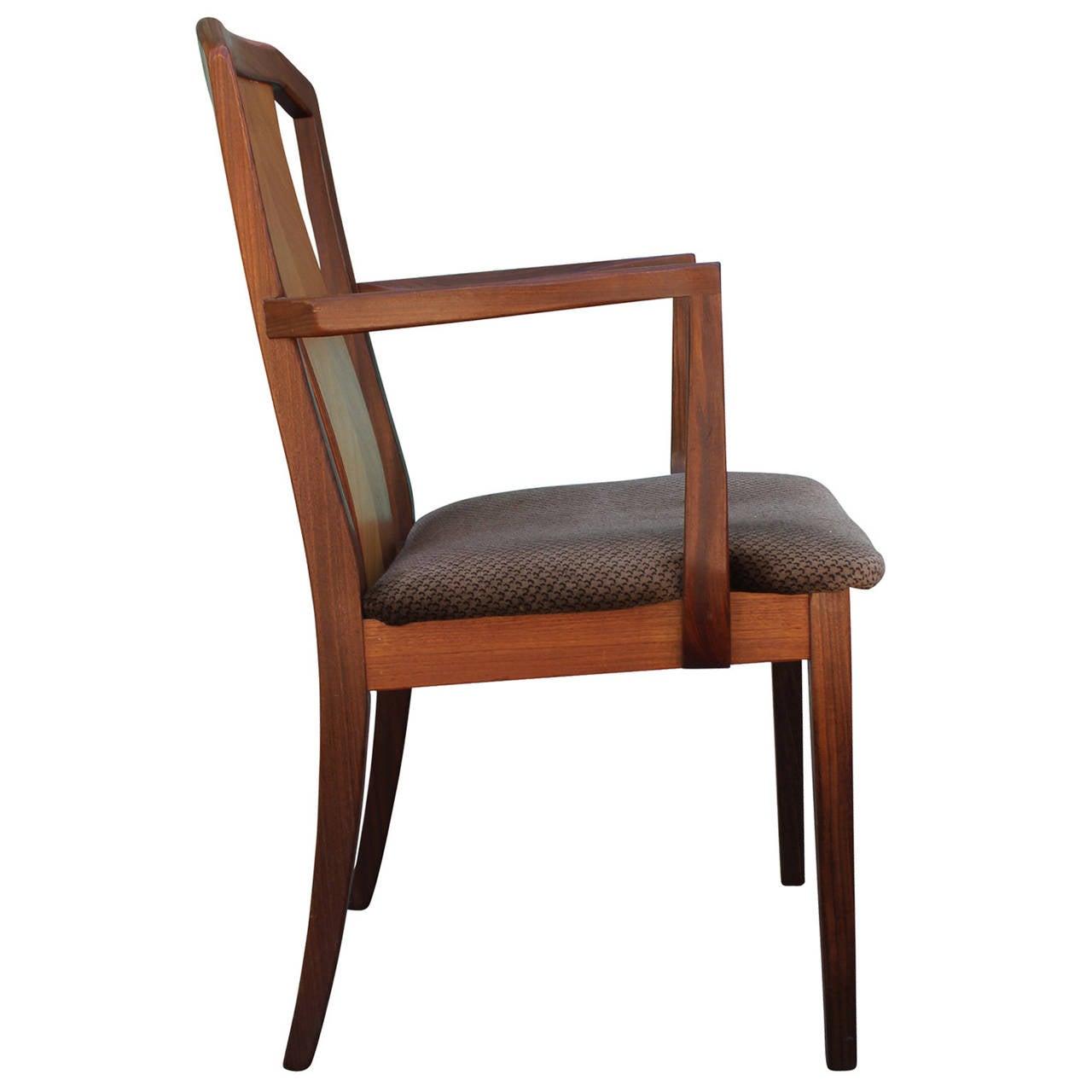 Beautiful Set Of Six Teak English Dining Chairs At 1stdibs