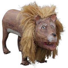 Incredible Folk Art Lion Sculpture by David Alvarez