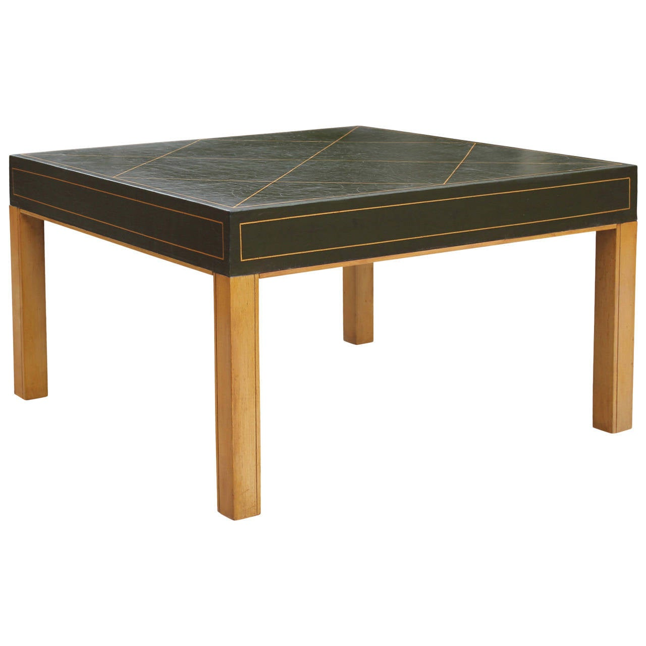Green Leather Tommi Parzinger Style Coffee Table