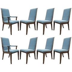 Set of Eight Mastercraft Burl and Brass Accented Dining Chairs