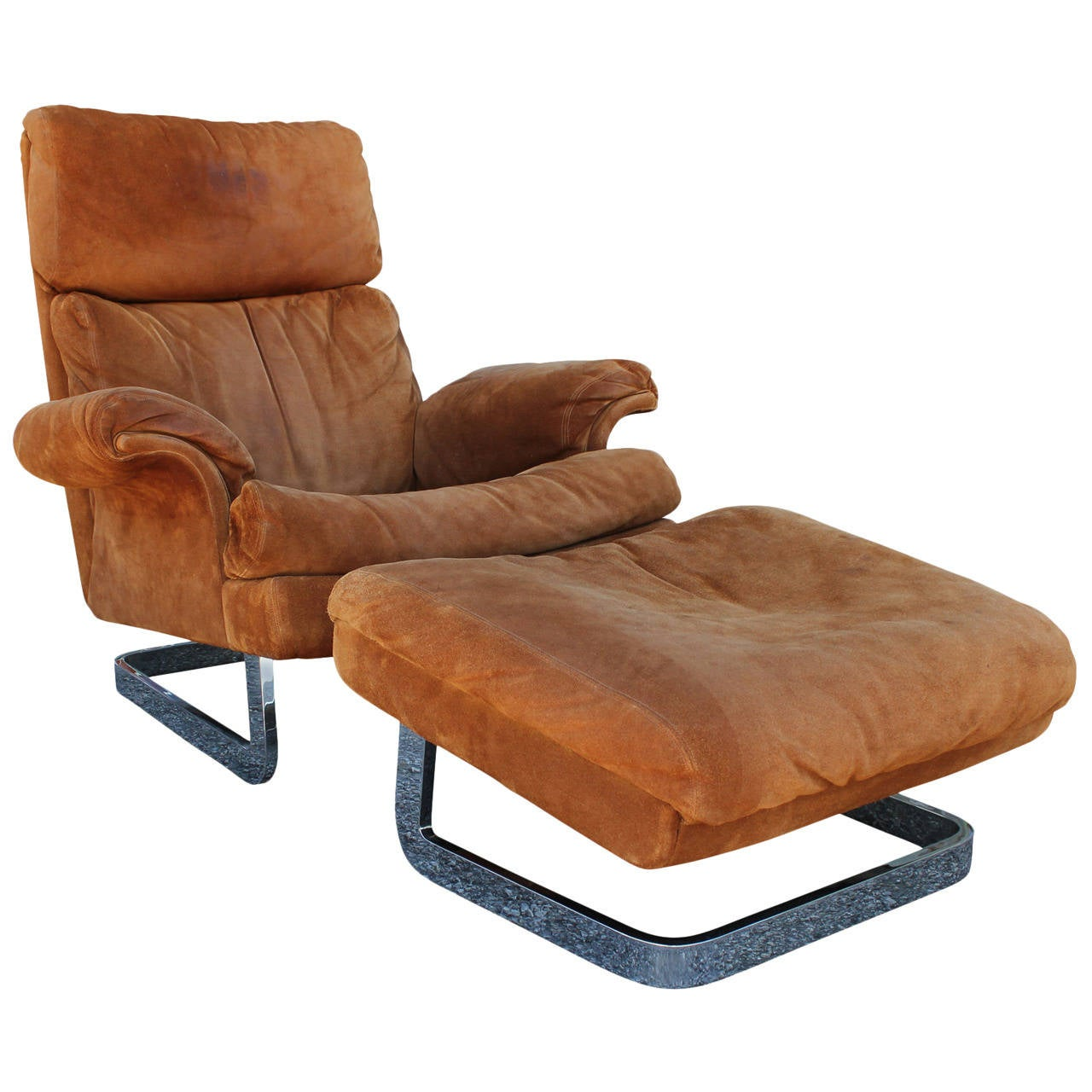 Suede And Heavy Chrome Lounge Chair And Ottoman Milo Baughman Style