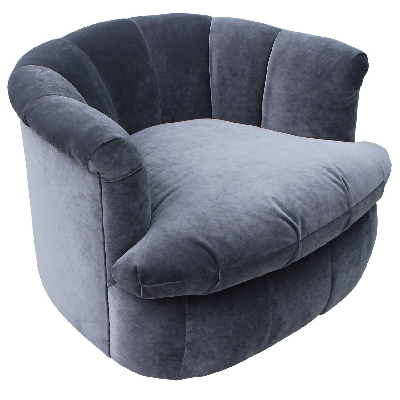 Plush Pair Of Grey Velvet Swivel Chairs At 1stdibs