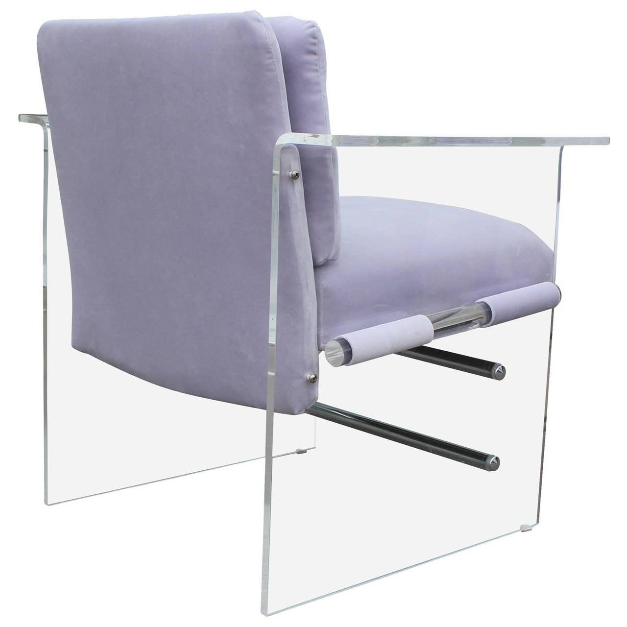 striking pair of lucite velvet armchairs at 1stdibs