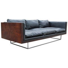 Stunning Milo Baughman Burl Case Sofa