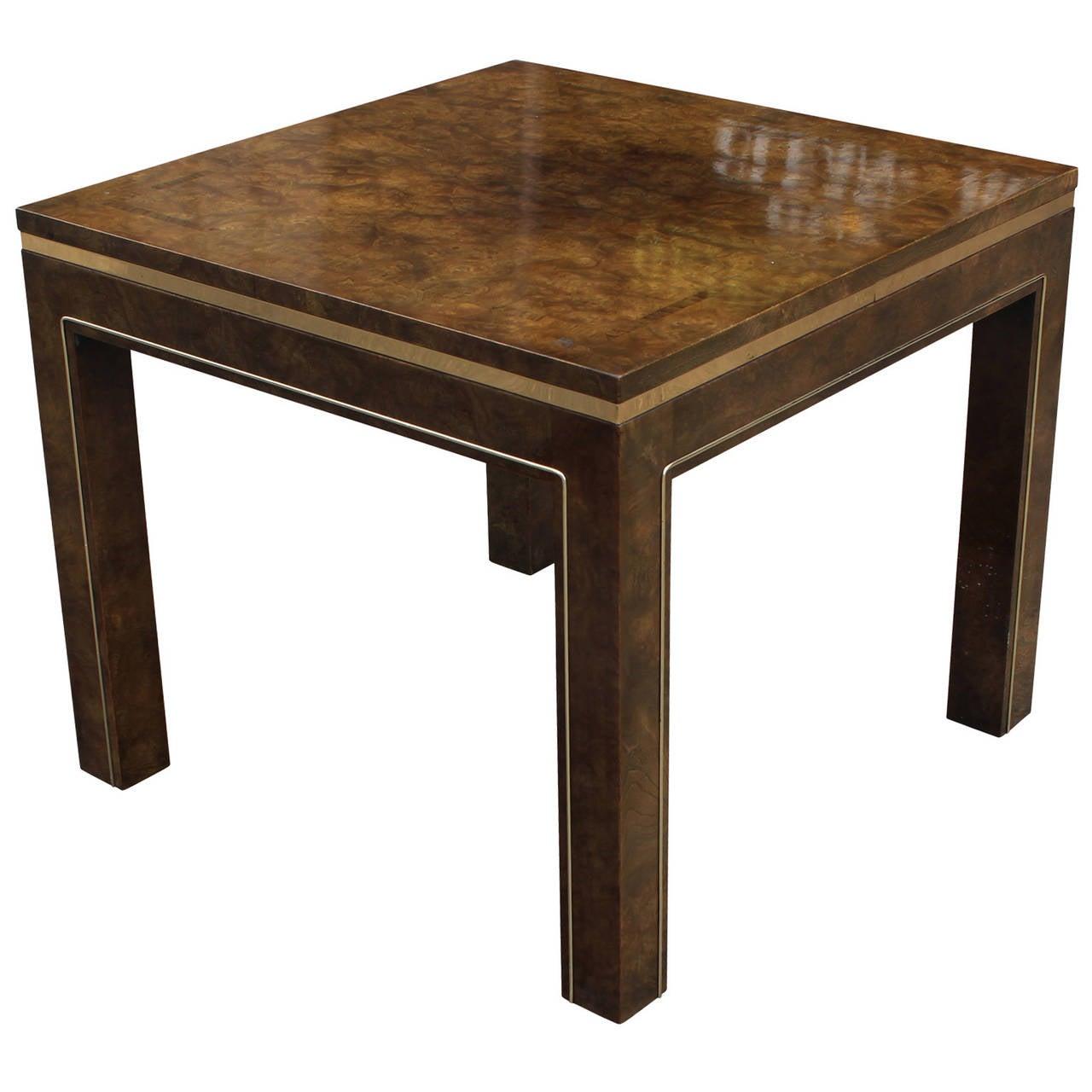 Hollywood Regency Mastercraft Burl and Brass Side Table