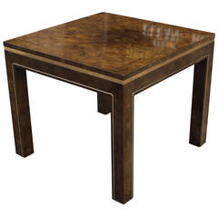 Hollywood Regency Mastercraft Burl and Brass Side Table
