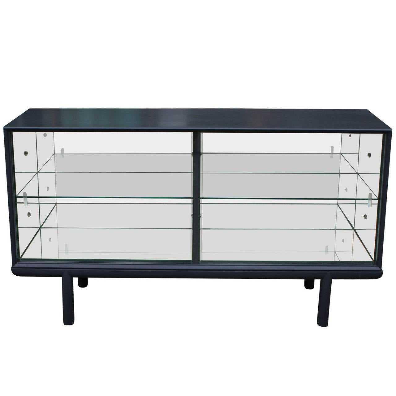 Sleek grey mirrored sideboard or display cabinet with for Sideboard glas
