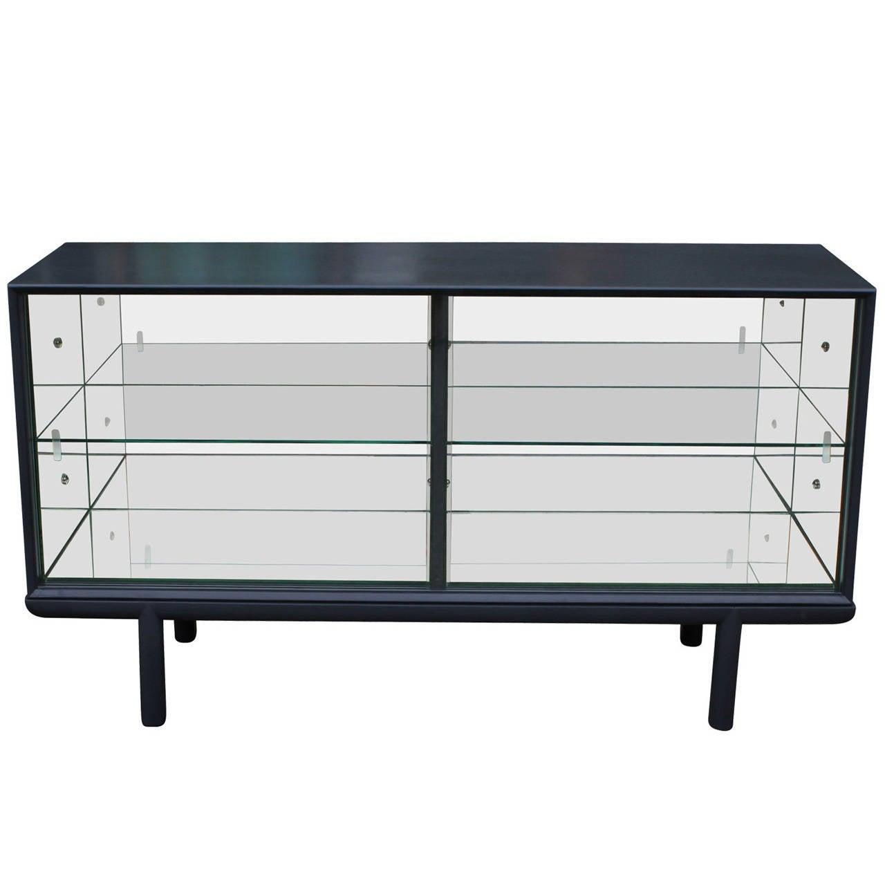 Sliding Glass Doors Buffet ~ Sleek grey mirrored sideboard or display cabinet with