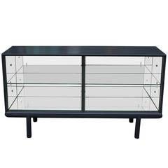 Sleek Grey Mirrored Sideboard or Display Cabinet with Glass Sliding Doors