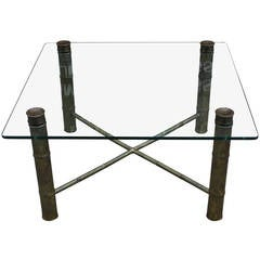 Hollywood Regency Faux Bamboo Bronze Patina Square Table
