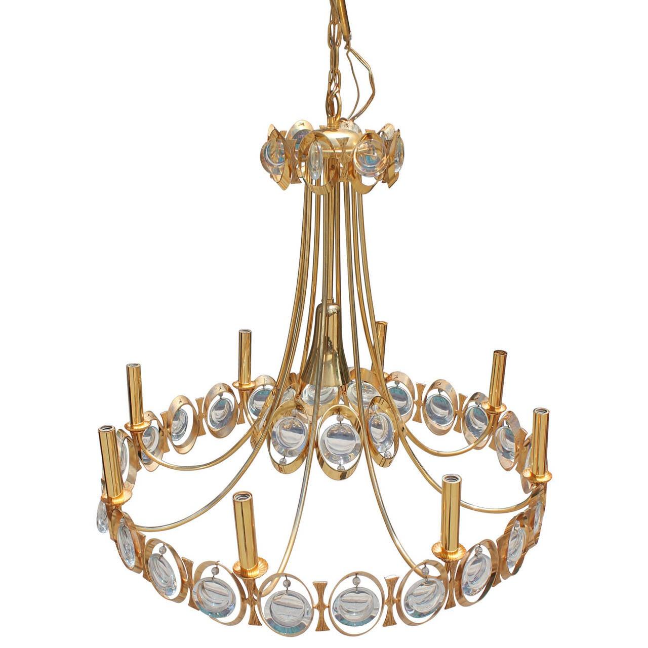 Stunning Gilt Brass Hollywood Regency Chandelier By Palwa
