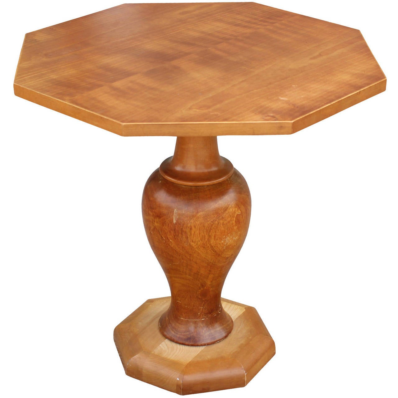 Octagonal Maple Side Table On A Turned Wood Base For