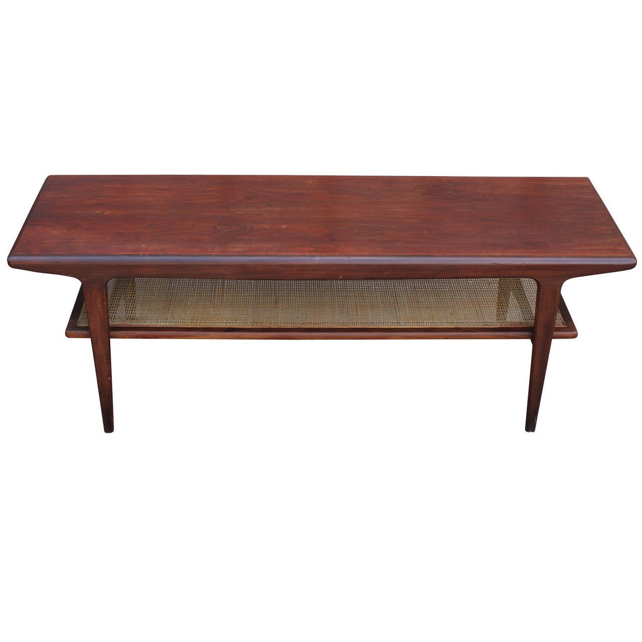 Danish teak coffee table with cane shelf Coffee table with shelf